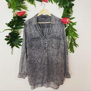NY & Company Soho Jeans Gray Chambray Popover XXL
